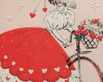 Vintage Valentine Girl on Bicycle Hearts and Flowers Unused NOS 1950s