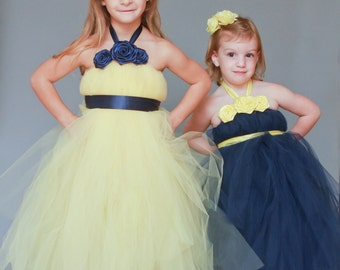 Amazing Yellow and Navy Flower Girl Halter Tutu Dresses with Changed Accents