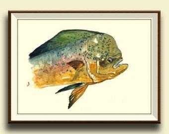 PRINT-Mahi mahi fish dolphingfish head portrait  - Art Print by Juan Bosco