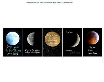 Moon Phases Photo Quotes, Set of Five Moons, Full Moon Love You Moons Crescent Moon Sayings Nursery Art Celestial Toddler Room wall art