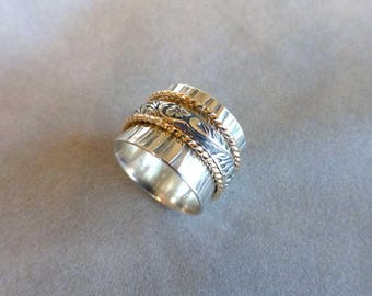 Sterling Spinner Ring, Wide Band Ring, Meditation Ring, Hammered Silver and 14K Gold Spinner Ring, Wedding Band, Size 8-1/4