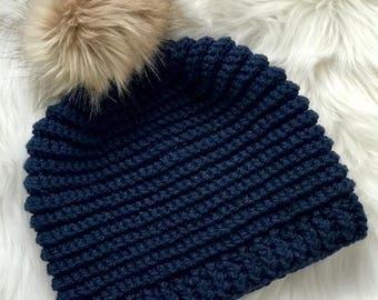 Crochet PATTERN - Knit Look Crochet Hat Pattern - Easy Crochet Pattern - Crochet Beanie Pattern - Ribbed Crochet Hat - 6 Sizes -  PDF 453