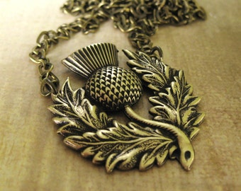 THE ENDURING THISTLE Necklace Brass scottish thistle scotland thistle pendant necklace scottish necklace celtic necklace handmade jewelry