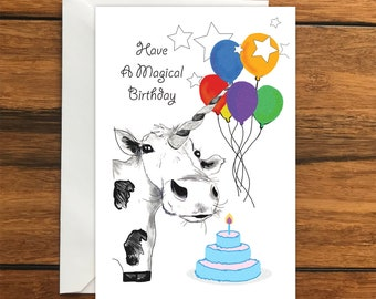 Have a Magical Birthday Cow Unicorn Happy Birthday One Blank Greeting card and Envelope A6