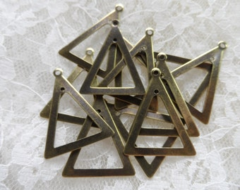 """Vintage gold plate brass triangle drops,1&1/8th""""x7/8th"""",12pcs-KC418"""