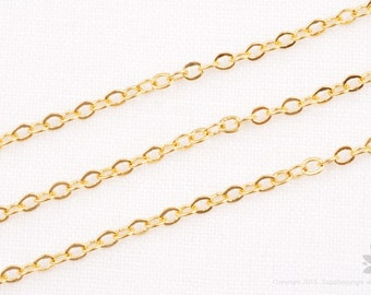 C120-G// 14k Gold Plated Small Cable Chain, 5M