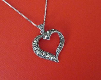 Vintage Sterling Silver Marcasite Heart Pendant - Marcasite Necklace
