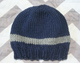 Hand Knit Baby Hat in Blue and Gray / Baby Hat / Baby Beanie / Toddler Hat / Toddler Beanie