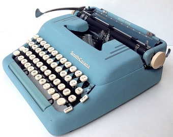 BLUE! Smith Corona Silent Super Manual Portable Typewriter