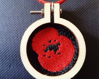 Embroidered Poppy Necklace
