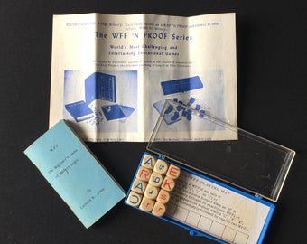 Vintage WFF The Beginners Game Of Modern Logic  Travel Game Featuring Wooden Dice With Original Instructions & Carrying Case