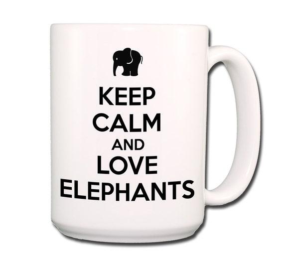 Keep Calm and Love Elephants Large 15 oz Coffee Mug