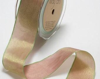 Woven Iridescent Mauve/Sage Ribbon, 1 Inch Ribbon,  Iridescent Ribbon, May Arts Ribbon, Scapbooking, Hair Bows, Gift Bags, 6 Yards