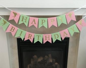 Fairy Birthday Banner, Happy Birthday Banner, Fairy Party, Girl Birthday Banner, Girl Party, Pink, Mint, Gold Sparkle, Photo Prop