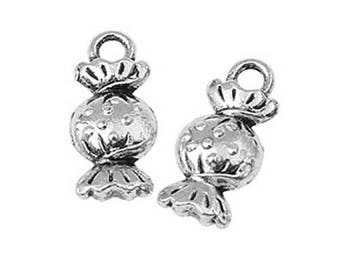 15 Sweet Boiled Candy Treat Antique Silver Charms Pendants 7mm x 15mm (701)