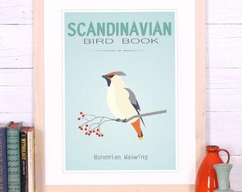 Bird poster, Scandinavian bird decor, waxwing print, Scandinavian style, vintage art print, retro wall art, Scandinavian design decor