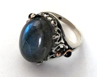 Green labradorite ring, statement ring, gemstone ring, garnets, cocktail Ring, sterling silver ring, silver yellow gold ring - So far R2181