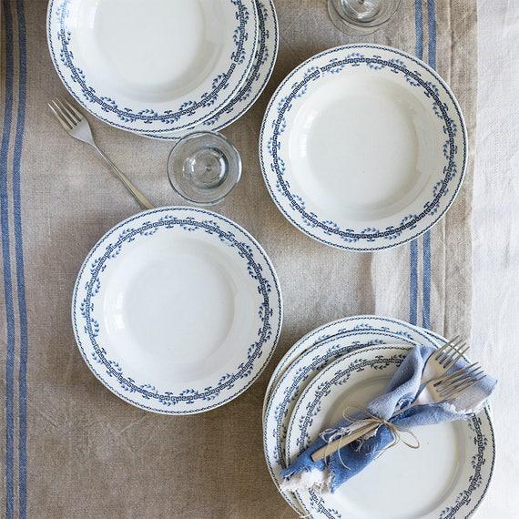 Greek Key Ironstone soup & dinner plates - set of 8