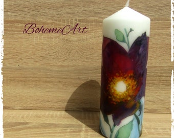 Boho#Flower#Beautiful#Housewarming#Mother's day#Home decor#Decoupage on candle#Big sized candles#Gifts for friends#Boho style