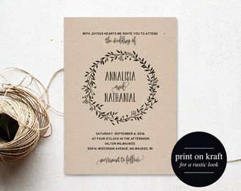 Rustic Wedding Invitation Template, Country Wedding, Invitation Template, Rustic Invite, Wedding Printable, PDF Instant Download #BPB224_1