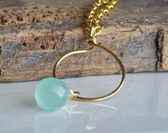 50% OFF Hammered Brass Hoop Necklace with Seafoam Green Briolette, Necklace, Beaded Necklace, Etsy, Beaded Hoop Necklace