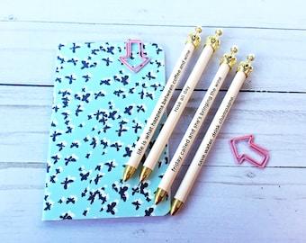 Gold Crown Blush Sentiment Mechanical Pencil