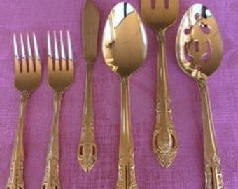 HF Pierced Rose Gold Flatware, Hanford Forge Stainless Flatware,Gold Plated Flatware, H.F. Ltd., Gold Electroplate Flatware by Hanford Forge