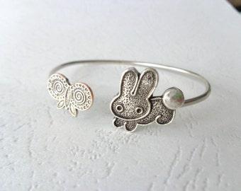 Butterfly bunny bracelet, wrap style