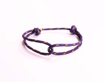 Rope Bracelet - Unisex Hugging Loop Rock Climbing Bracelet - Purple