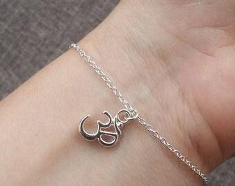 Silver Charm Bracelet, Ohm Bracelet, Om Bracelet, Yoga Bracelet, Key Bracelet, Musical Note, BFF  Bracelets