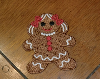 Embroidered Magnet - Christmas - Gingerbread Girl - Small