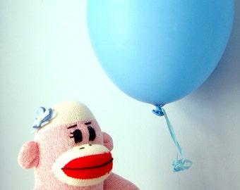 Pink Sock Monkey Doll, Handmade - Girl, Children's Toy, Stuffed Animal, Traditional