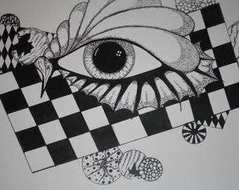 Dotwork eye piece (print)