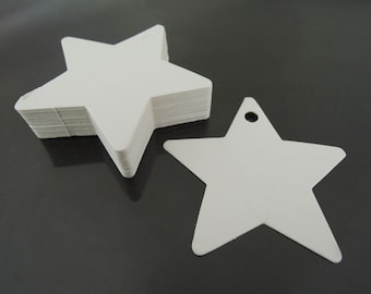 White Paper Tags - White Tags Star Tag Price Tags Hang Tags Gift Tags White Tag Plain Tags Clothing Tag Plain Tags with Hole 6cm x 6cm
