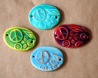 4 Handmade Peace Sign Beads - Ceramic Bracelet beads with Peace, Love, Flowers and Sunshine :)