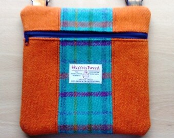 Harris Tweed and Linen Panelled Cross Body Bag, in Funky Orange, Purple and Turquoise, with External Zip Mobile Pocket & Adjustable Strap