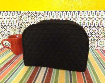 Black 2 Slice Toaster Cover Quilted Fabric Kitchen Small Appliance Cover with Edge Trim  Ready To Ship Next Business Day