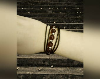 Leather wrap bracelet with beads and pearls
