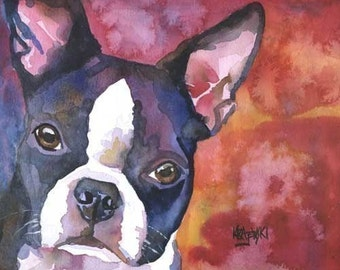 Boston Terrier Art Print of Original Watercolor Painting - 8x10 Dog Art