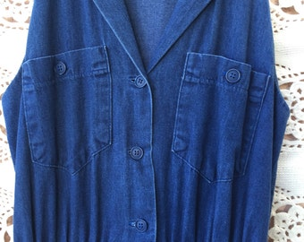 Vintage 90s Sleeveless Denim Button Up Dress | by Carol Anderson California | Size 8