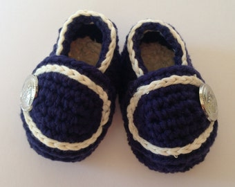 Crochet Nautical Baby Booties .cotton loafers. Nautical Baby shoes. Newborn Gift. Baby loafers.