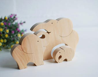 Mother's Day gift, Wooden puzzle Elephant family Baby shower Big details puzzle Toddler wood toy Elephant toy Family gift Wood Kids Toys