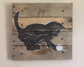 """Black Cat Art,14x14"""", kitten,Pallet Art,Rustic wall art,silhoutte,nursery art,outdoors,nature,children art,decor,cat art,kids room"""
