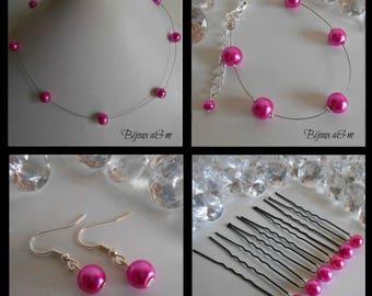 Set of 4 wedding pieces simplicity Fuchsia beads