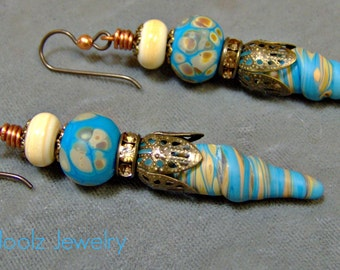 Lampwork Organic Raku Earrings-Raku-Lampwork Beaded Earrings-Artisan Earrings-Artisan Lampwork Dangle Earrings-SRAJD - Artisan Beads