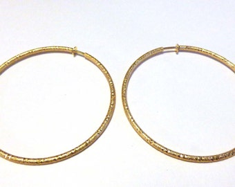 Clip-on Earrings Hypo-Allergenic Earrings Gold Tone Hoop Earrings 3 inch Hoops Matte Gold