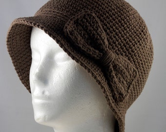 Cloche Hat in Brown for Cancer Patients - Chemo Hat/Cancer Hat/Chemo Cap/Cancer Cap
