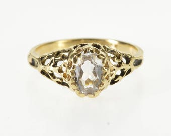 10K Oval Ornate Scroll Design Travel Engagement Ring Size 5.5 Yellow Gold