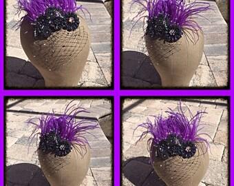 Purple Feather Swarovski Crystal Hairpiece Haircomb