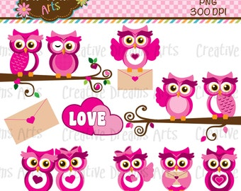 40% Off! Love Owls Clipart Instant Download